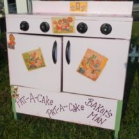 Upcycled Vintage Toy Play Stove Oven