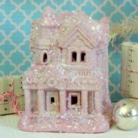 Shabby Chic Pink Glittered Christmas House