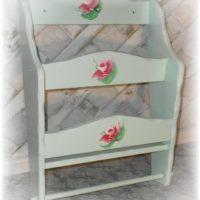 Soft Green Shabby Chic Rose Magazine Rack