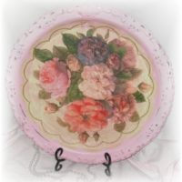 Pink Upcycled Shabby Rose Serving Tray