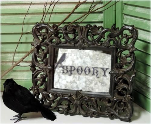 Spooky Aged Halloween Mirror