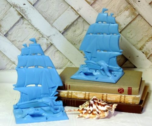 Turquoise Blue Painted Sailboat Bookends