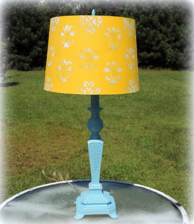 Turquoise and Yellow Painted Pineapple Lamp