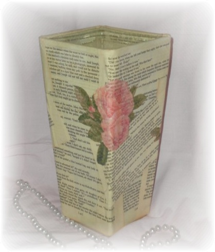 Upcycled Vintage Book Page Shabby Vase