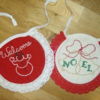 Vintage Embroidered Christmas Baby Bibs