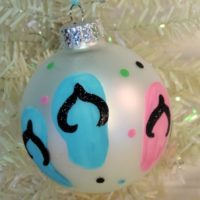 Glittered Hand Painted Flip Flop Christmas Tree Ornament