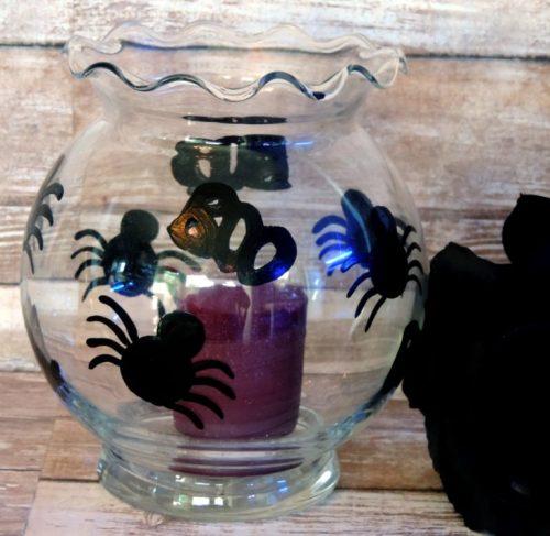 Halloween Black Spider Glass Candle Holder
