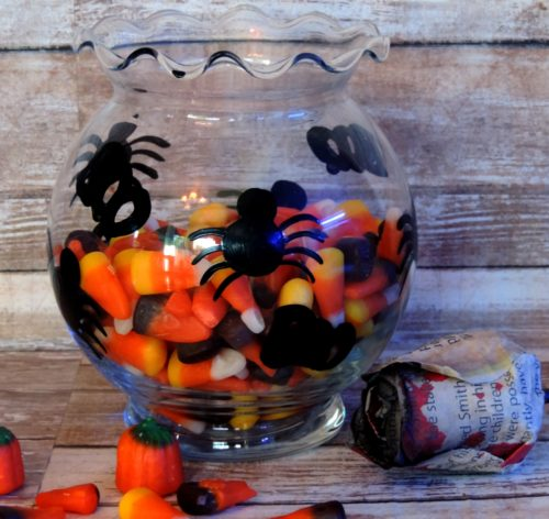 Halloween Black Spider Glass Candy Dish Candle Holder