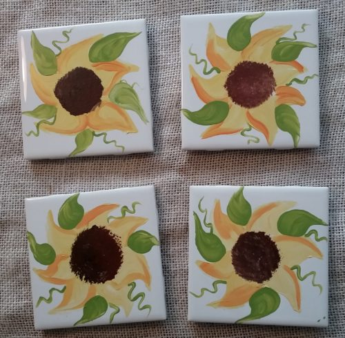 Hand Painted Country Sunflower Coaster Set