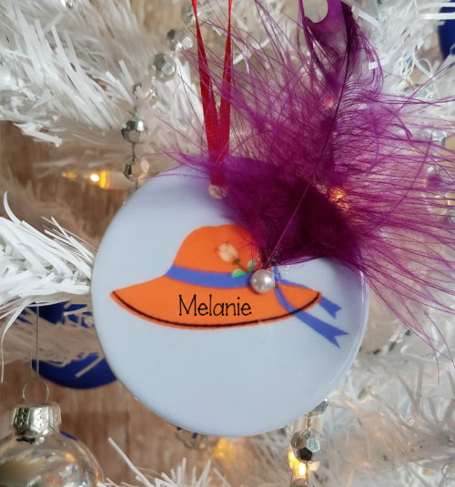 Personalized Red Hat Society Christmas Tree Ornament
