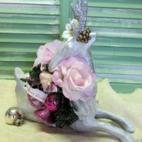 Silver Shabby Chic Christmas Reindeer Centerpiece