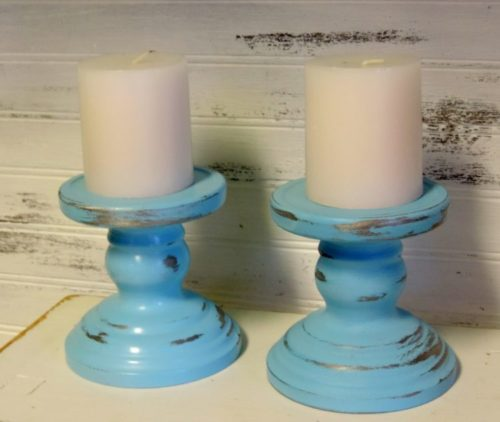 Sky Blue Distressed Shabby Candle Holders