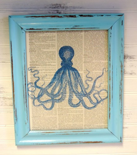 Framed Antique Octopus Image On Vintage Dictionary Page