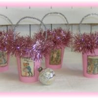 Shabby Pink Vintage Victorian Christmas Candy Treat Cups
