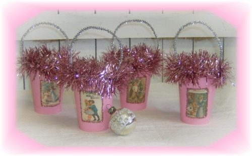 Pink Vintage Victorian Christmas Treat Candy Cups