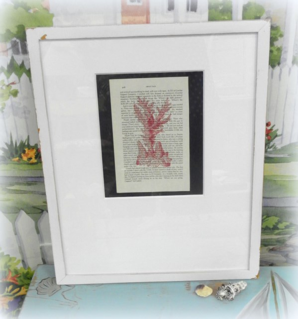 Framed Antique Sea Coral Image on Vintage Book Page
