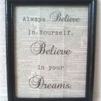 Always Believe In Your Dreams Framed Upcycled Dictionary Page