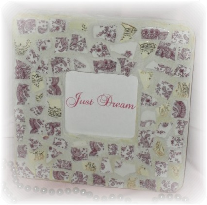 Shabby Broken China Mosaic Purple Frame