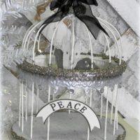 Shabby Vintage Style Glittered Christmas Bird Cage