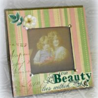 Hand Embellished Pink and Green Photo Frame