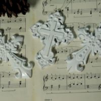 White Distressed Cross Christmas Ornaments