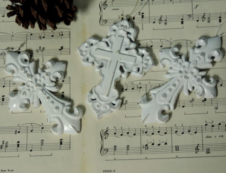 Distressed White Crosses Christmas Ornaments