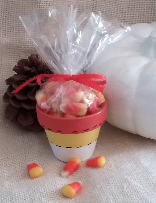 Hand Painted Candy Corn Terracotta Pot Candy Favor