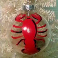 Hand Painted Personalized Lobster Christmas Tree Ornament
