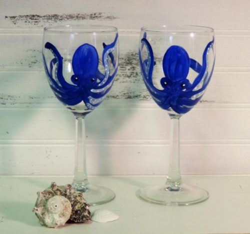 Hand Painted Blue Octopus Wine Glasses