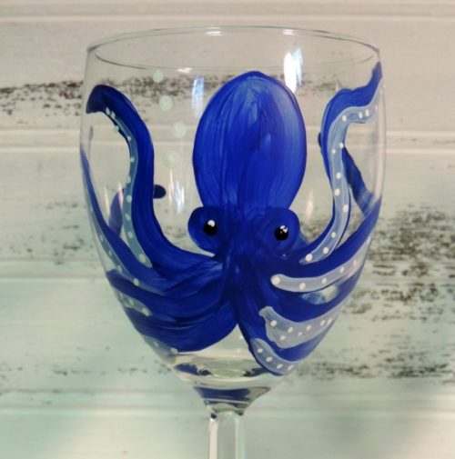 Hand Painted Octopus Wine Glass
