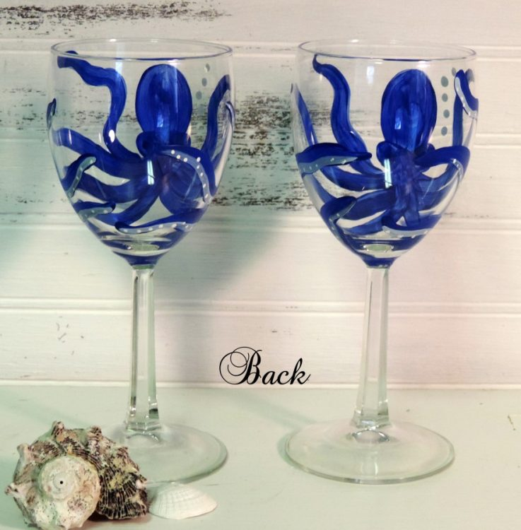 Set of 2 Hand painted Octopus Wine Glasses 20 oz Glasses
