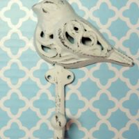 Shabby White Distressed Bird Hook
