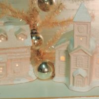 Shabby Pink Glittered Christmas Church and Cottage