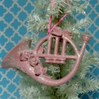 Shabby Pink Glittered French Horn Christmas Ornament