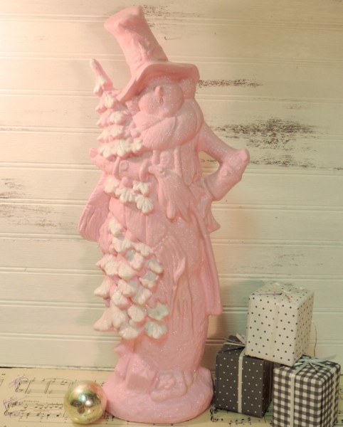 Shabby Chic Pink Glittered Snowman Figurine