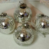 Crackled Mercury Glass Christmas Tree Ornaments