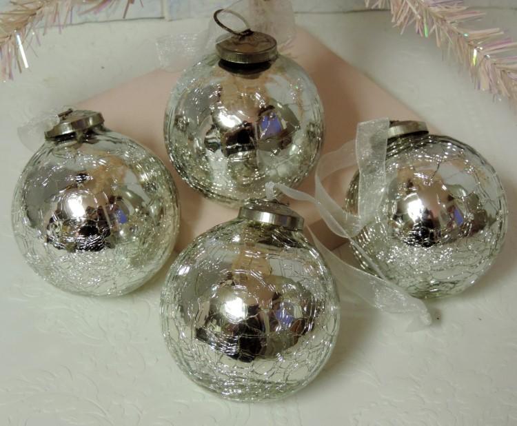 Elegant Crackled Mercury Glass Christmas Tree Ornaments