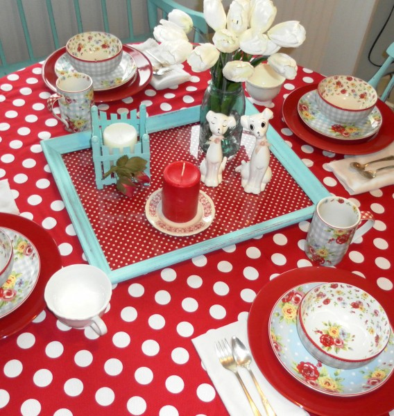 Red White and Turquoise Country Tablescape