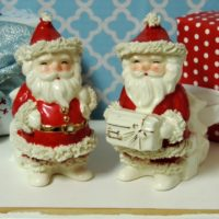 Vintage Napco Santa Claus Candy Cane Holders