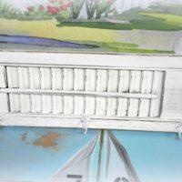 white upcycled repurposed shutter coat towel rack