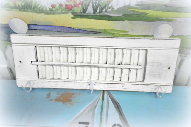white upcycled repurposed shutter coat towel rack