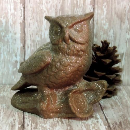 Glittered Bronze Owl Figurine