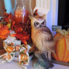 An Owl Inspired Halloween and Thanksgiving Mantle