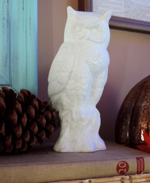 Glittered Snow White Owl Figurine