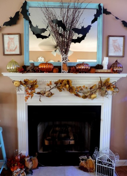 Owl Inspired Halloween Fall Mantle