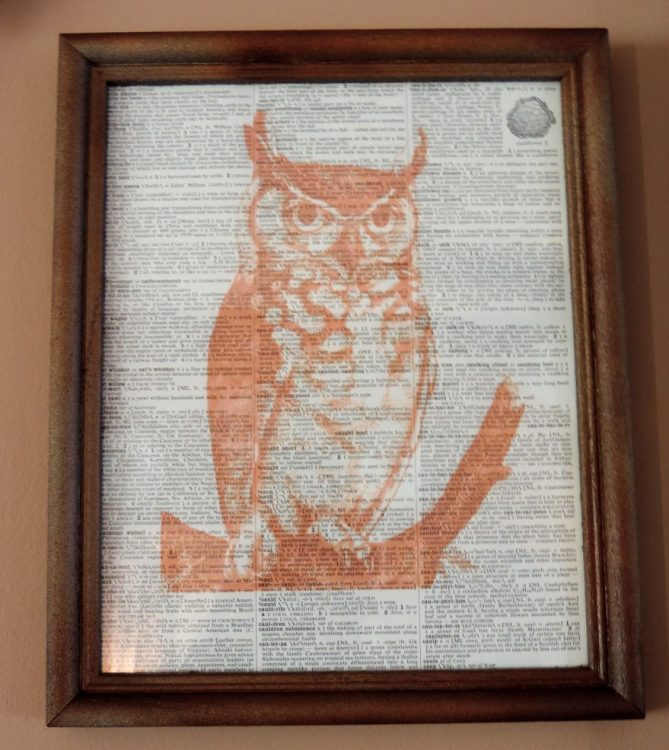 Framed Owl Inspired Vintage Dictionary Page