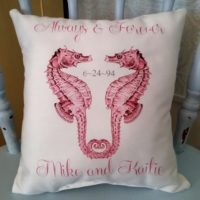 Personalized Pink Seahorse Accent Pillow Wedding Gift, Anniversary Gift