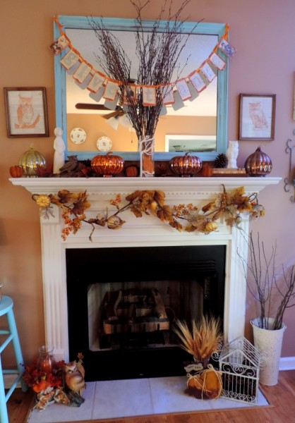 Owl Inspired Thanksgiving Mantle