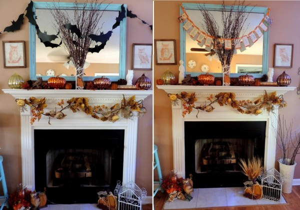 Transitioning A Mantle From Halloween To Thanksgiving