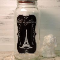 Upcycled Eiffel Tower French Glass Cookie Jar